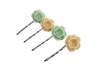 Get 15% OFF - Handmade Hair Pins - Resin Flower Hair Pins - Silver Hair Pins - Labor Day SALE 2017