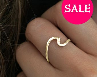 Gold Wave Ring - SALE - Wave Ring Sterling Silver - Silver Wave Ring - Wave Rings - Wave Ring - Ocean Ring - Wave Jewelry - Ocean Jewelry -