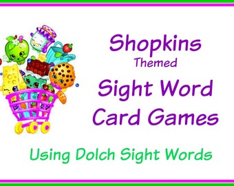 Shopkins Themed Sight Word Card Games - Dolch Sight Words