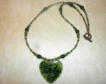 One Of A Kind Dark Green Heart Agate Pendant