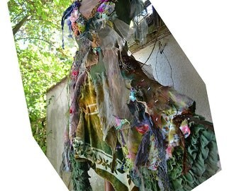 Unique Art To Wear  Forest Woodland Mori Dress with Silk Velvet and Lots of Silks  Undine QUEEN of the SWAMP Fairy Boho  Tattered Gipsy