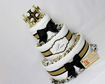 Baby Diaper Cake Prince King Royalty Black Gold White Shower Gift Centerpiece
