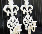 Pair ornate candle wall sconces distressed painted Creamy Heirloom White