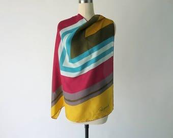 SCHIAPARELLI Vintage Silk Scarf / Vintage Designer Geometric Scarf