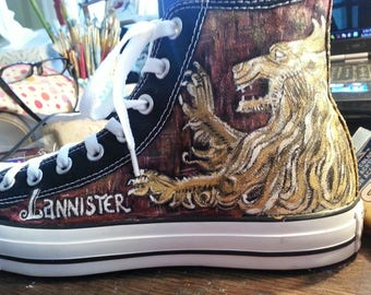 GAME of THRONES Hand painted CONVERSE  Shoes Sneakers Stark Lannister Toms Winter is coming Hear me roar