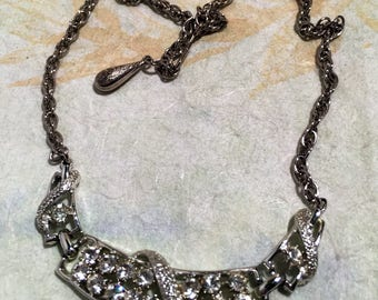 Rhinestone and Rhodium Choker Necklace