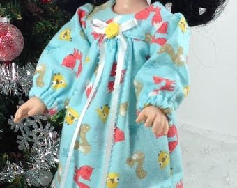 14 inch doll clothes-fits Wellie Wishers- Flannel Nightgown-Christmas-Good Stocking Stuffer