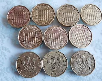 Mid Century Threepence Coins 1950s 1960s Lot of Ten British Coins