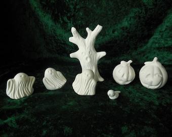 Seven Piece Ceramic Bisque Halloween Figures Ready to Paint, Ready to Paint Halloween, UPaint Halloween