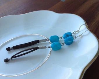 Turquoise and leather dangle and drop 1960s inspired Edie Sedgwick shoulder duster earrings