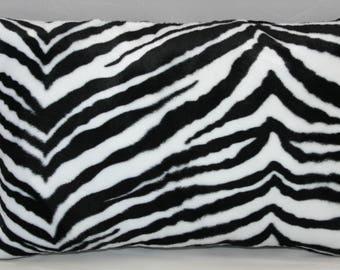 Lumbar Pillow Zebra Animal  Print Black and White Fleece  14 x 9 inches