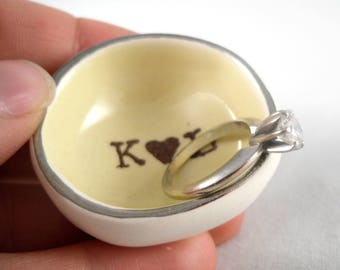 custom wedding ring holder with yellow glaze and silver rim, personalized wedding gift for bridal shower, add your own personalized initials