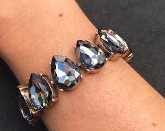 Stunning crystal teardrop bracelet grey grystal with gold antique metal clasp perfect statement bracelet wedding bridesmaid jewelry crystal