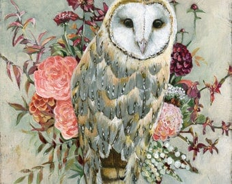 Barn Owl Print, Owl and Flowers Art, Owl and Flowers Picture, Owl Gift Ideas, Owl Nursery Art, Rustic Owl Print, Urban Barn Owl Painting