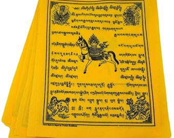 Tibetan Prayer Flags Solid Yellow Color Wind Horse Set of Ten Flags