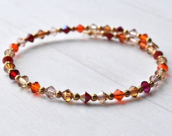 Bead Bracelet, Crystal Bracelet,  Gift for Her, Red Gold Orange, Metallic Beads, Bead Bangle, Bracelet UK
