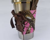 Cup Corset - Handle - Pink Camo - Cup Cozy - Drink Carrier - Drink Holder - Water - Coffee - Tea - Reversible - Adjustable - Hunting