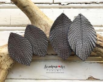 Gunmetal Leather Feather Earrings