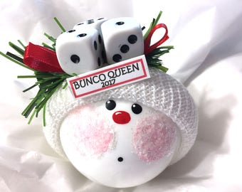 Bunco Queen  Christmas Ornaments Hand Painted White Glass Handmade Personalized Themed by Townsend Custom Gifts - BR