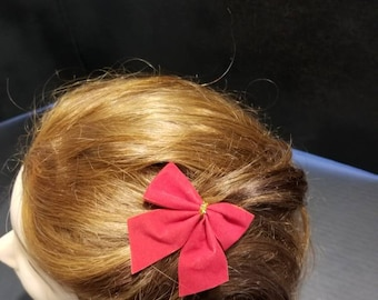 Mini Red Flocked Bow Hairclip