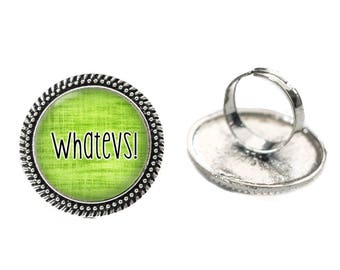 Whatevs! Green Glass 25mm Cabochon Silver Double Rope Adjustable Ring
