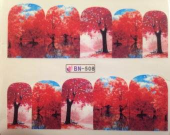Red Trees in the Park Nail Wraps