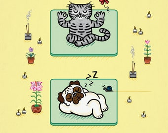 Yoga Poses - Pug and Cat - Limited Edition - signed - children's art poster print by Oliver Lake