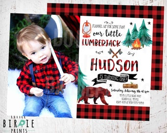 Lumberjack birthday Invitation Lumberjack first birthday party invitation Lumberjack birthday invitation Bear Lumberjack 1st birthday party
