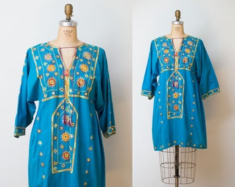 SALE! 1960s Pakistani Dress / 60s Teal Embroidered Dress
