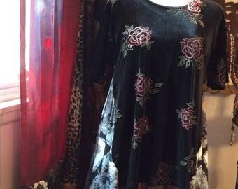 Black Velvet Tunic, womens altered top, asymmetric hemline, floral velvet, stretchy, XL