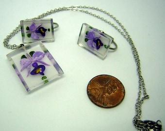 Vintage Purple Lucite Necklace & Earring Jewelry Set Encased Orchids 50s / 60s