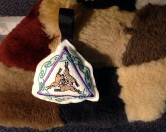 Embroidered Triple Hare/Rabbit Stuffie or Ornament
