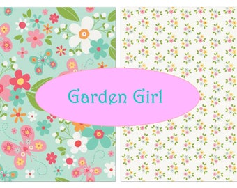 Riley Blake - Garden Girl collection - Main in Mint and Posies on white - cotton sewing quilting fabric - choose your cut