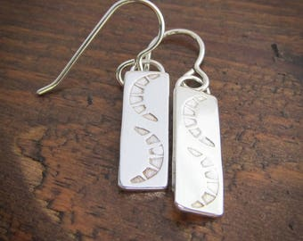 Hand Stamped Silver Earrings / Argentium Silver Earrings / Dangle Earrings / Southwestern Earrings / Stamped Jewelry / Crescent Moon 105234