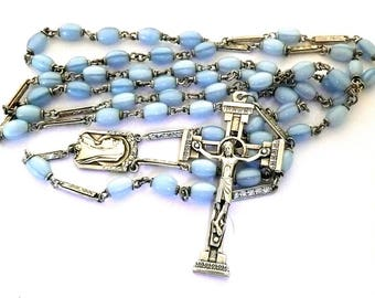 Long Vintage Blue Glass and Silver Rosary