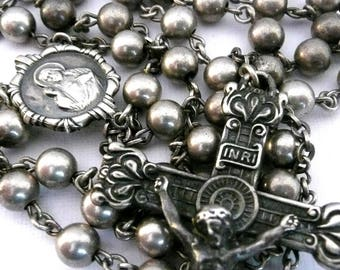 Long Vintage Sterling Silver Rosary