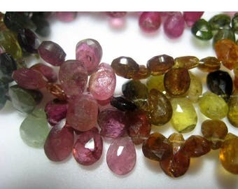 ON SALE 55% Tourmaline Beads/ Multi Tourmaline/ Gemstone Beads/ Pear Beads/ Faceted Gemstones - Approx 5x8mm - 35 Pieces - 4 Inch Half Stran