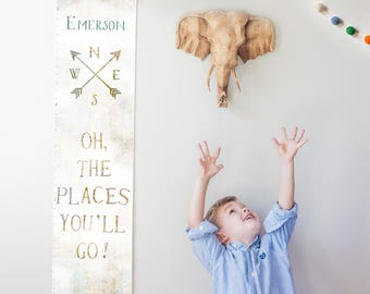Custom/ Personalized Oh the Places You'll Go canvas growth chart with vintage map background- travel gender neutral nursery/baby shower gift
