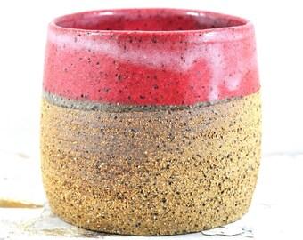 Handmade Ceramic Bowl - Textured Rustic Serving Bowl - Hug Mug - Soup Mug - Vase - Red - Unique Pottery - Home Decor by Dawn Whitehand