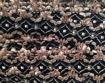 3 yard piece Flat Tape trim twoinch wide with scallop edge black and antique gold/copper