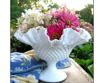 Fenton Hobnail Milk Glass Bowl / Milk Glass Centerpiece / Milk Glass Pedestal