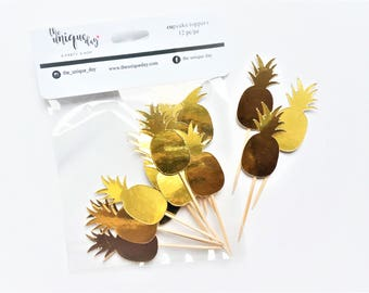 Gold Pineapple Cupcake  Toppers