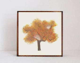 woodland nursery art- autumn tree art print- forest decor- nursery woodland art- tree print- nursery forest -tree decor- redtilestudio
