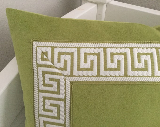 Pear Green Velvet with Greek Key Trim Designer Pillow Cover -  Square and Euro Sizes