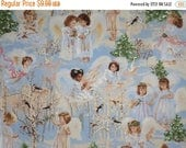 ON SALE Very Sweet Dona Holiday Angels Print Pure Cotton Fabric--By the Yard