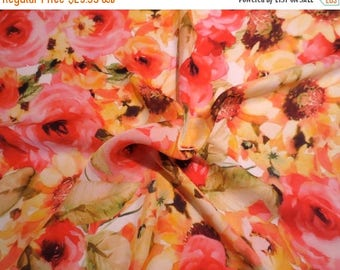 ON SALE Yellow and Coral Red Floral Print Pure Silk Chiffon Fabric--One Yard