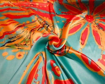 Fabulous Huge Orange on Turquoise Abstract Floral Print Pure Silk Charmeuse Fabric--By the Yard