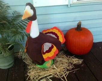 GOOSE CLOTHING - Tom Turkey ~ Cinnamon Brown felt ~ Thanksgiving ~ Plastic or Concrete Lawn goose
