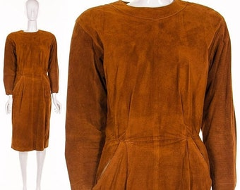 MOVING SALE COGNAC Brown Dress Suede Leather Dress Minimalist Leather Vintage Dress Medium