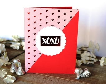 Handmade Valentine's Day Card, XOXO, Hugs and Kisses, Pink Red White, Hearts, Free Shipping, Blank Inside, One of a Kind